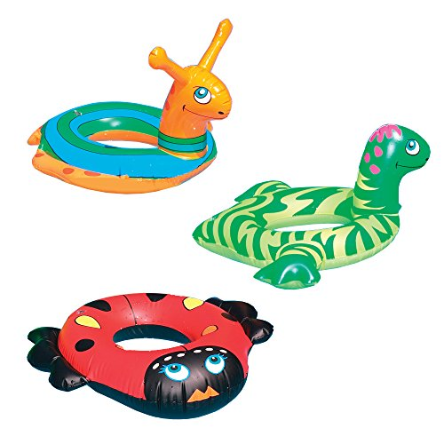 Swimline 24' Animal Inflatable Swim Rings Set of 3 with a Drawstring Bag: Snail, Lady Bug & Baby Dino Swimming Pool Child Floats
