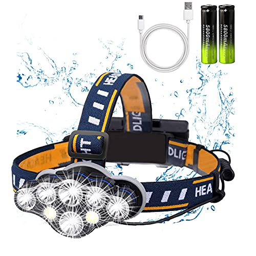 Rechargeable Headlamp,2021 Newest 8 LED 18000 Lumen Super Bright Waterproof Headlight Flashlight with Red Lights,USB Rechargeable Head Lamp, 8 Modes for Outdoors Camping Running Fishing Hiking