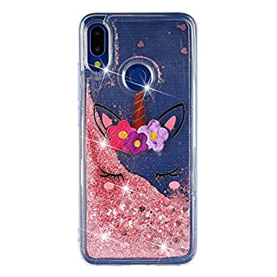 ChoosEU Compatible con Funda Xiaomi Redmi Note 7 Silicona Transparente Dibujos Glitter Brillante Bonita Carcasas Liquido Purpurina Case Antigolpes Bumper Cover Protección Caso - Unicornio