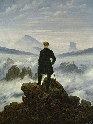 Artland Alte Meister Kunst Wandbild Caspar David Friedrich Leinwandbilder Romantik 80 x 60 cm Der Wanderer über dem Nebelmeer Kunstdruck Wand Gemälde R2NY