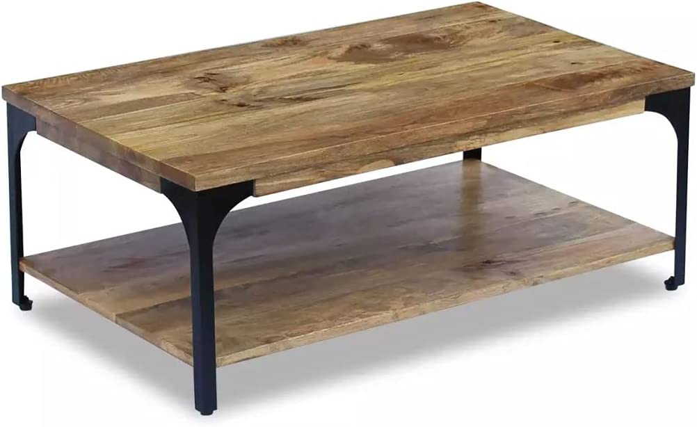 vidaXL Solid Mango Wood Coffee Side Accent Table 2 Shelves Handmade Home Decor