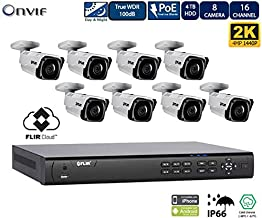 FLIR PoE Home Security Camera System with 16Ch 8 Port 4TB NVR and (8) 2K Outdoor Bullet IP Cameras, Night Vision, Vandal-Resistant, Weather Proof, Motion Detection (Without 100ft Cat5e Cable)