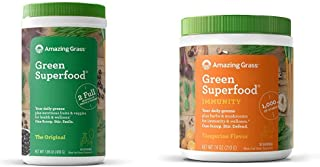 Amazing Grass Green Superfood: Super Greens Powder with Spirulina, Chlorella, 60 Servings & Green Superfood Immunity: Supe...