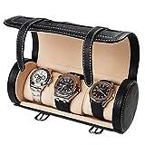 BILLSTONE Traveller Watch Roll for 3 Watches, Portable Watch Case, Travel Watch Organizer