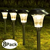 Solpex 8 Pack Solar Path Lights Outdoor, Waterproof Glass Stainless Steel High Lumen Automatic Solar Pathway Lights for Patio, Yard, Lawn, Garden and Landscape-Warm White(Silver Finish)