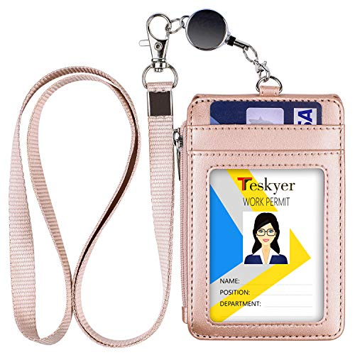 Teskyer ID Badge Holder with Retractable Lanyard, 4 Card Slots, Premium PU Leather ID Card Holder with Zipper Pocket, Easy Swipe ID Holder for Work ID, School ID, Metro Card and Access Card