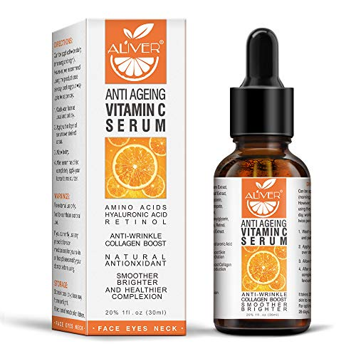 Organic Vitamin C Serum for Face/Body with Hyaluronic Acid, with 20% Vitamin C&100% Vegan, Retinol & Amino Acids - Boost Skin Collagen, Anti Aging & Wrinkle Facial Serum, Retinol Serum for All Skin