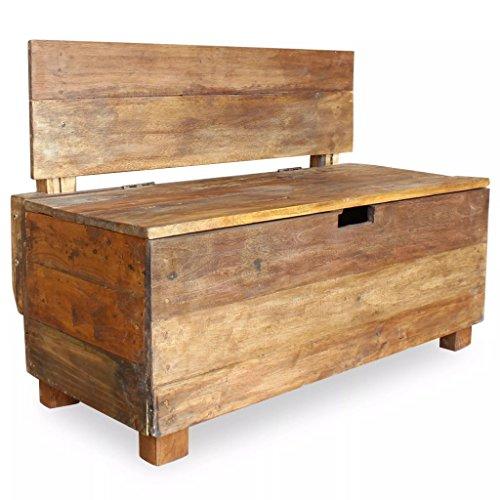 mewmewcat Coffre de Rangement pour Jardin en Bois Massif de Récupération Rustique Style Vintage 86 x 40 x 60 cm