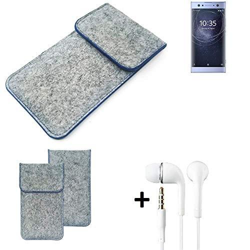 K-S-Trade Filz Schutz Hülle Für Sony Xperia XA2 Ultra Dual-SIM Schutzhülle Filztasche Pouch Tasche Handyhülle Filzhülle Hellgrau, Blauer Rand + Kopfhörer