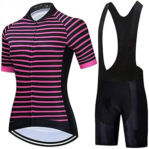 LDX Set di Maglie Abbigliamento da Ciclismo da Donna, Set di Maglie da Ciclismo da Donna Maglia da Bici da Corsa Camicie da Equitazione Salopette con Tasche Imbottite (Color : B, Size : 3X-Large)