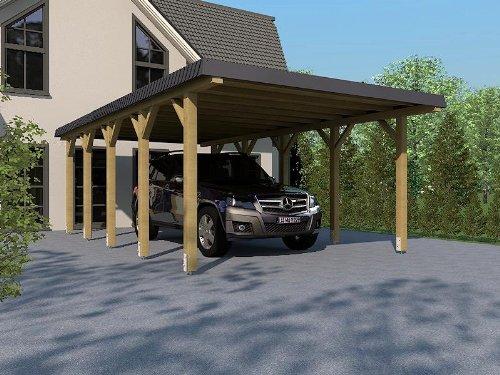 Carport aus Leimholz HUNSRÜCK II 340x800 cm, mit Schieferblende, Dacheindeckung