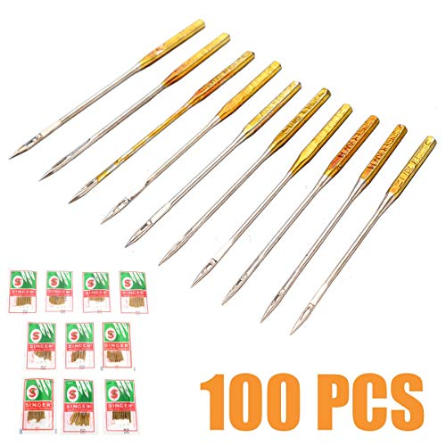 Best Buy! 100pcs Sewing Machine Needles, Sizes HAX1 65/9, 75/11, 90/14, 100/16, 110/18 Domestic Sewi...