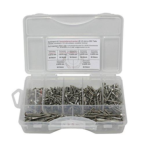 Sortiment Edelstahl Schrauben A2 Durchmesser 3,5 mm, 350 Teile ; Holzschrauben/Spanplattenschrauben mit verstärktem Kopf; Material: VA V2A