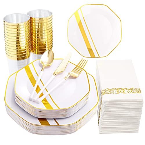WDF Goldfarbene Kunststoffteller und Einweggeschirr aus Kunststoff, Besteck mit weißem Griff, für gehobene Hochzeiten und Partys
