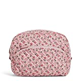 Vera Bradley Women's Signature Cotton Large Cosmetic Makeup Organizer Bag, Sweethearts and Flowers, One Size