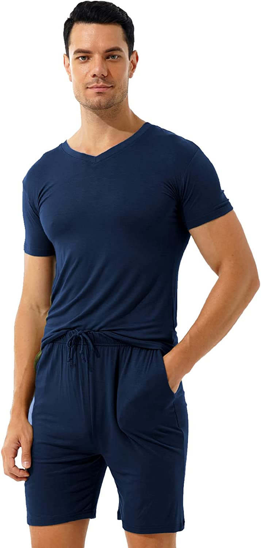 Oyolan Mens Pajamas Shorts Set Summer Sleepwear V Neck Short Sleeve T-Shirt Loungewear Home Suits