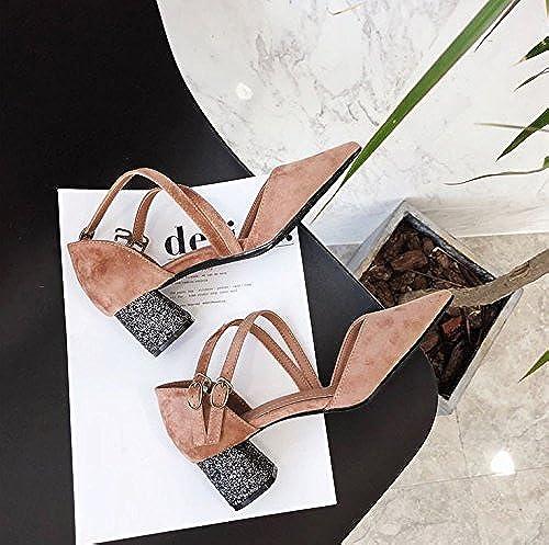 MDRW-Dame élégante Travail Loisirs Printemps Rose Tous-Match Le Velours Seul Point Avec 5Cm D'épaisseur Chaussures Des Talons Hauts La Mode Le Creux Chaussures De Travail Des Chaussures