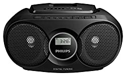 Thanks to Dynamic Bass Boost, the CD player portable AZ215B/05 delivers a voluminous sound for its compact size. With the portable CD player radio, you can enjoy consistent sound The CD player with radio comes with a FM stereo tuner to deliver you th...