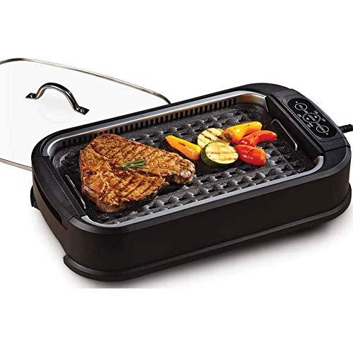 BIYLL Elektrogrill, 1500W Tischgrill mit Glasdeckel, Elektrische Multipfanne, BBQ Barbecue, elektrisch Grillfläsche, Grillpatte 1500Watt, Verstellbarer Thermostat. 53 * 28 * 15cm
