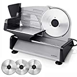 ALBOHES Electric Meat Slicer, 150W Professional Slicer Machine with 3 Stainless Steel Blades, Meat...
