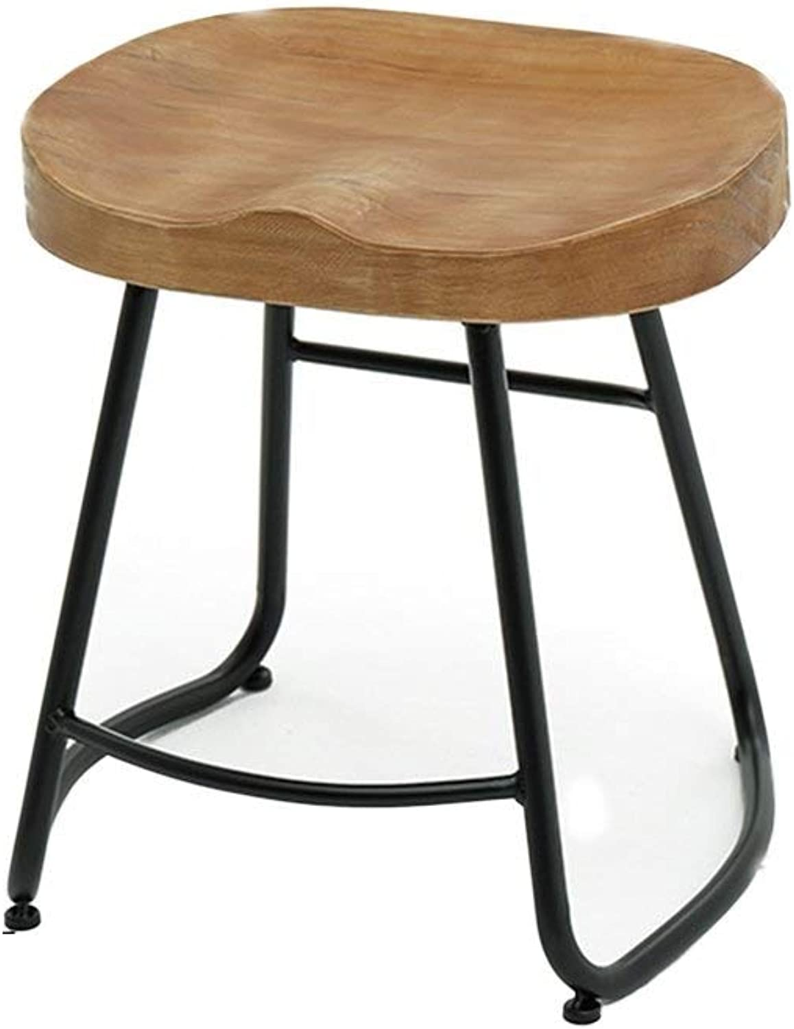 Household Bar Chair, Solid Wood Restaurant Multifunction Iron Art High Chair Coffee Shop Living Room Bar Counter Leisure Stool Various Styles (Size   44  35  45CM)