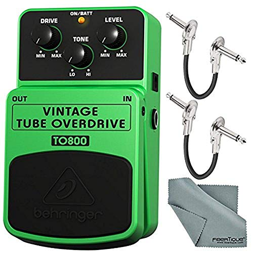 """Behringer Vintage Tube Overdrive TO800 Effects Pedal and Accessory Bundle with 1/4"""" Right Angle Phone Male Cables and Fibertique Cloth"""