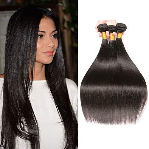 BK Beckoning Silky Straight Brazilian Hair 3 Bundles Virgin Hair Weave 24 26 28 Inch 100% Unprocessed Human Straight Hair Weft Mixed Length Natural Color