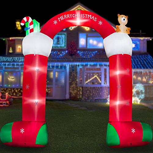HOOJO 10 FT Christmas Inflatables Socks Archway Inflatable Outdoor Decoration with Build in LEDs, Blow up Indoor, Yard, Garden Lawn Decoration