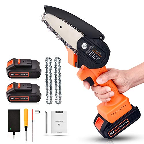 Mini Chainsaw Cordless 20V 2pcs Batteries GOXAWEE 4 Inch Electric Power Chain Saw OneHand Operated Portable Wood Saw for Farming Tree Limbs Garden Pruning Bonsai Trunk and Firewood