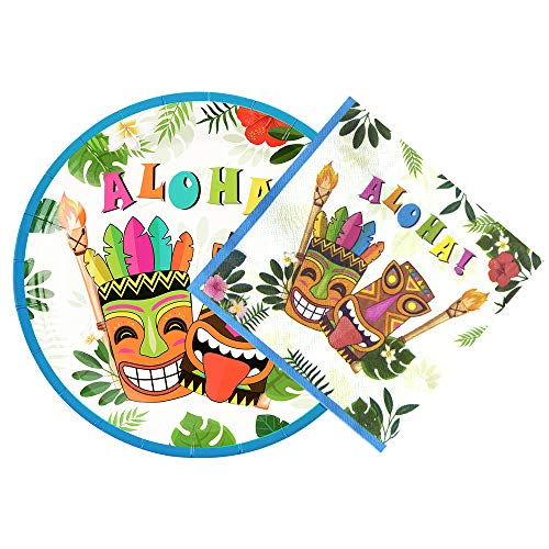 WERNNSAI Aloha Luau Plates and Napkins - Serves 50 Gusets 100PCS Hawaiian Tropical Tiki Party Supplies Disposable Tableware Set Luncheon Dinner Paper Plates Napkins for Birthday Party