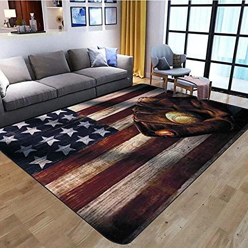 Home Kurzflor Wohnzimmer Teppich Schlafzimmer Bettvorleger Outdoor Carpet für Hochwertiger Öko Home flauschig Teppich Rot-Blau-Graue Flagge 120x170 cm