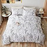 LAMEJOR Duvet Cover Set King Size White Floral/Branches Leaves Plants Outline Pattern Luxury Soft Bedding Set Comforter Cover (1 Duvet Cover+2 Pillowcases) White