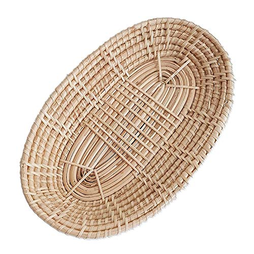 2 cestas de mimbre de bambú natural ovaladas vintage, cestas para servir alimentos, cesta de pan, bandejas de exhibición de productos, cesta de regalo