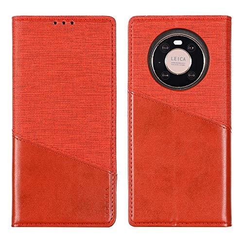 MAXJCN Funda para Huawei Mate 40 Pro Plus, con bloqueo RFID, estilo de costura, funda delgada de piel sintética con cierre magnético oculto (color: rojo)