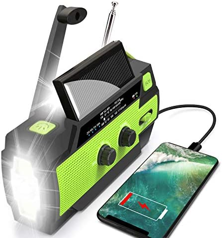 Emergency Flashlight Radio 2021 Upgraded AM FM NOAA Weather Solar Crank Radio with 4000 mAh product image