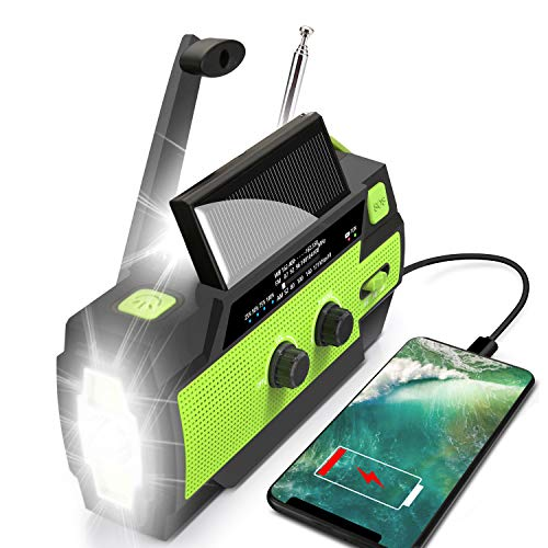 Emergency Flashlight Radio,2021 Upgraded AM/FM/NOAA Weather Solar Crank Radio with 4000 mAh Replaceable Li-ion Battery, Sensor Reading Lamp,3 Modes Flashlight,Phone Charger for Hurricanes, Tornadoes