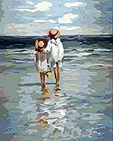 YXQSED Sin Marco DIY Pintura por Números Pint por Número de Kits for Adultos Mayores Avanzada Niños Joven - Ver al mar 12X16 Inch