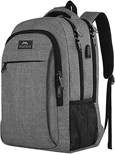 MATEIN Reise Laptop Rucksack 15.6 Zoll Multifunktion Notebook Laptoprucksack Business Arbeit Backpack Daypack Herren mit USB Ladeanschluss Geschenk für Schule Männer Damen - Grau