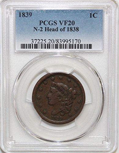 1839 Coronet Head Large Cent 1c VF20 PCGS N-2 Head of 1838