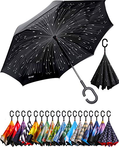 BAGAIL Double Layer Inverted Umbrella Reverse Folding Umbrellas Windproof UV Protection Big Straight Umbrella for Car Rain Outdoor with C-Shaped Handle (Shooting Star)