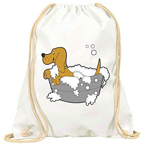 'Turn Bolsa 'Animales de baño de perro de limpio de mascotas de jabón de bañera de lavado con cordón–100% algodón de bolsa Con Asas De Mochila de bolsa de deporte, Weiß