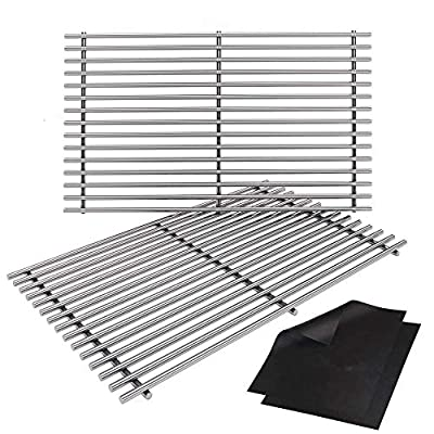 """SHINESTAR 17.5 inch Solid Stainless Steel Cooking Grates Replacement for Weber Spirit 200 Grill Grates 7637 S-210 S-220 E-210 E-220 with Front Control Knobs, Set of 2 SUS304 Steel Grid (17.5"""" x 10.5"""")"""