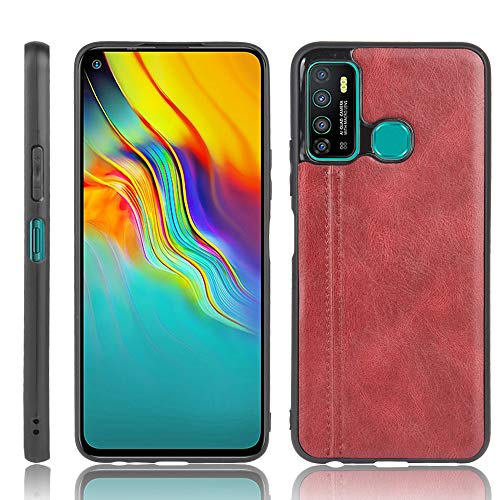 A+Xu Jie For Infinix Hot 9 Shockproof Sewing Cow Pattern Skin Texture PC + PU + TPU Case (Color : Red)