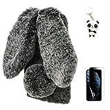 Artfeel Plüsch Kaninchen Hülle Kompatibel mit iPhone 12 Pro Max 6.7 Zoll,Niedlich Pelzig Hase Ohren Haarballen Weich Flauschige Winter Warm Handyhülle Faux Pelz Glitzer Diamant Hülle,Schwarz