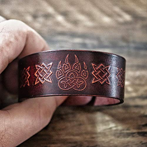 SDFASD Pulsera De Garra De Oso Vikingo Teñido De Cuero Nórdico Odin Puño De Muñeca Celtics Nudo Pulsera Amuleto Nórdico Joyas