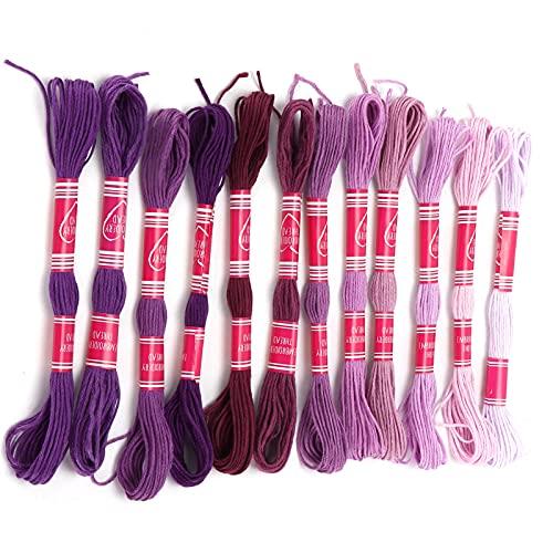 Hilo para bordar, colorido y duradero juego de hilos para bordar, uso múltiple, práctico, exquisito, resistente para manualidades, para manualidades, herramienta(Púrpura)