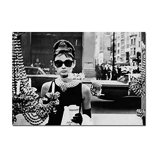 WDQTDW Leinwanddruck Audrey Hepburn Schwarz Weiß Fashion Poster Leinwand Wand Kunstdruck Blume Malerei Motivationale Dekorativen Bild Und Moderne Einrichtung