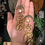SALAN Pendientes Novedosos Pendientes De Serpiente Serpiente Y Luna Joyería Única Hecha A Mano Regalo De Serpiente Diosa Bruja