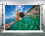ALUONI 5x3ft Underwater Photo of Tourist Holding Sea Urchin in Adriatic Sea Backdrop for Photography Photo Background Props Photography No66946