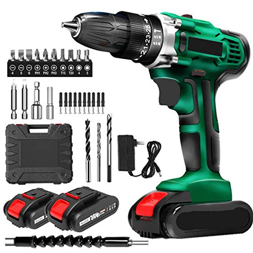 XDXDO Cordless Brushless Electric Drill 48VF Rechargeable Impact Driver Electric Screwdriver with 2 Batteries And 20Psc Accessories, Torque: 32Nm, 15+1 Speed Regulation, Speed: 0-1500Rpm